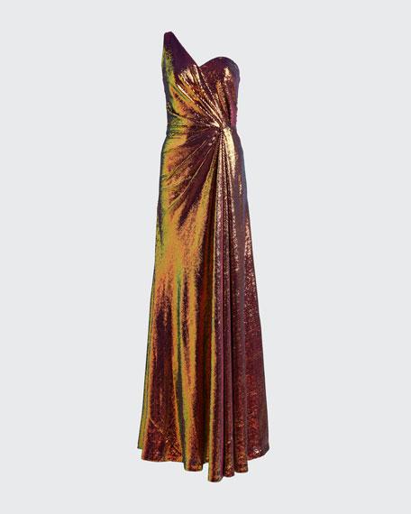 Iridescent Micro Sequin Asymmetrical Gown