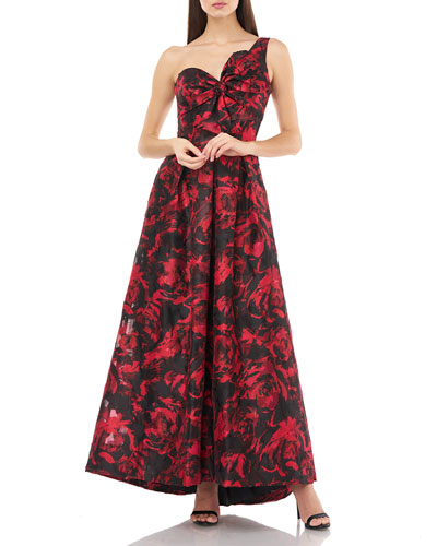 Sweetheart One-Shoulder Printed Gown w/ Bow Detail