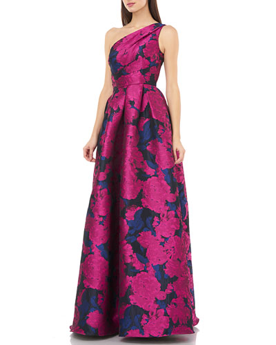 One-Shoulder Brocade Ball Gown