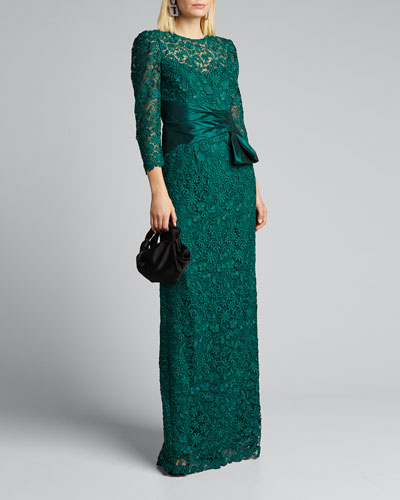 3/4-Sleeve Lace Column Gown w/ Side-Bow Detail