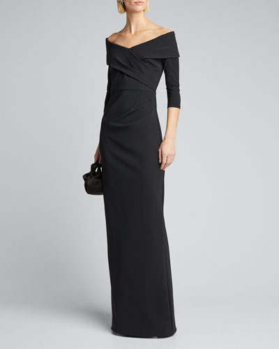 Off-the-Shoulder 3/4-Sleeve Scuba Column Gown