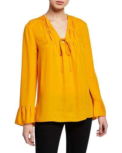 Mia V-Neck Long-Sleeve Silk Blouse