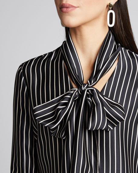 Nia Striped Charmeuse Bow Top