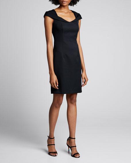 Rina Open-Neck Cap-Sleeve Sheath Dress