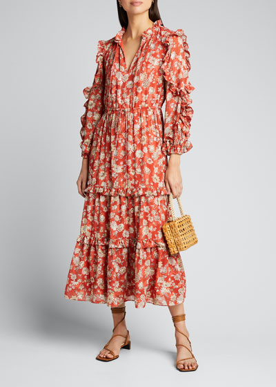 Auja Floral-Print Ruffle Maxi Dress
