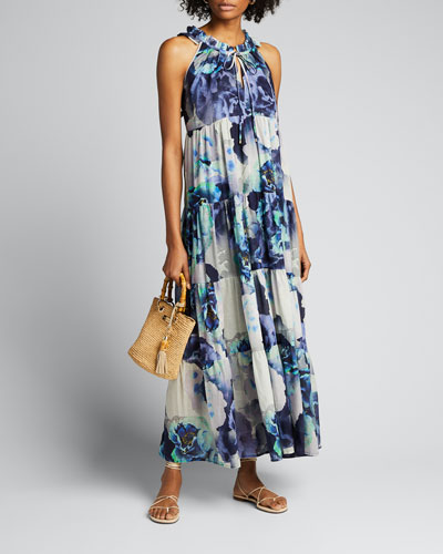 Floral Print Cotton Voile Tiered Ruffle Maxi Dress