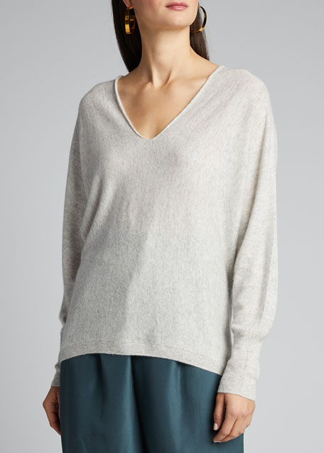 Double V-Neck Cashmere-Linen Sweater