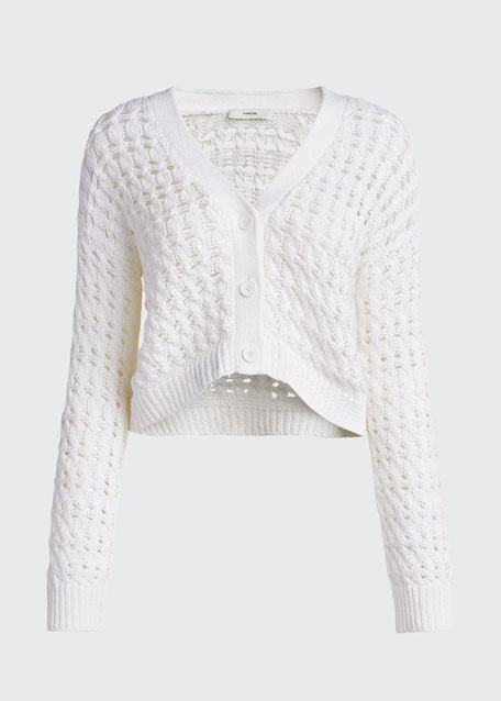 Button-Front Open Cable Cardigan