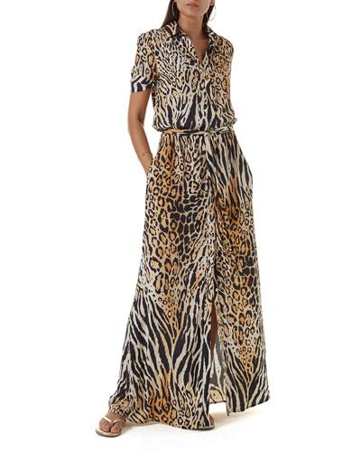 Naomi Animal-Print Button-Down Coverup Dress