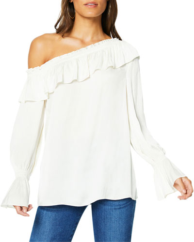 Remy One-Shoulder Ruffle Blouse