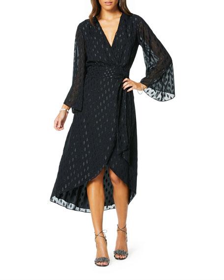 Julie Long-Sleeve Metallic Wrap Dress