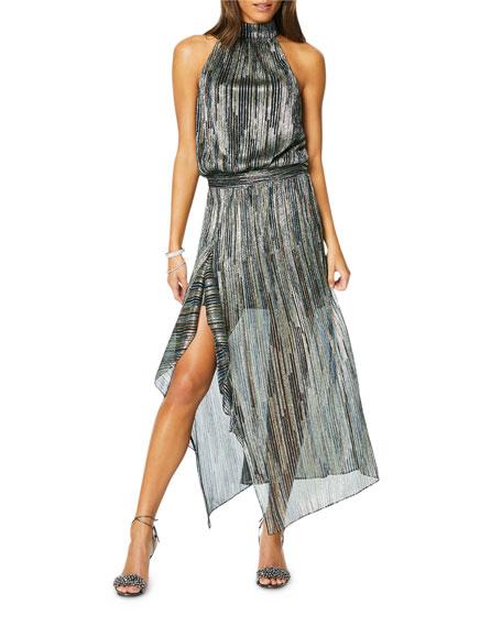 Monica Metallic High-Neck Cocktail Dress