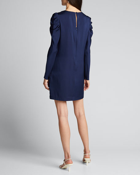 Janelle V-Neck Puff-Sleeve Stretch Silk Dress