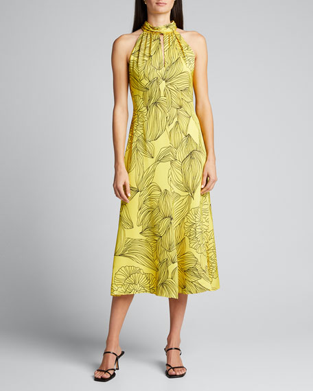 Adrian Printed Midi Halter Dress