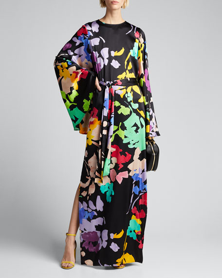 Lilliana Floral-Print Silk Bell-Sleeve Dress