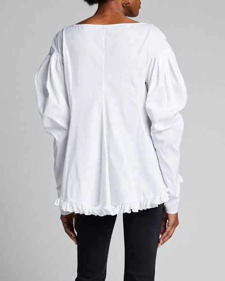 Ava Deep V Ruffle Puff-Sleeve Top