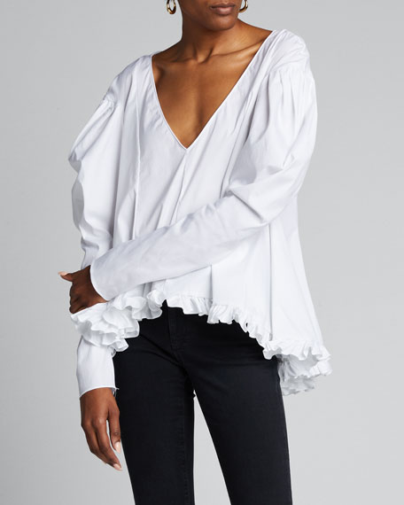 Ava Deep V Ruffle Puff-Sleeve Top