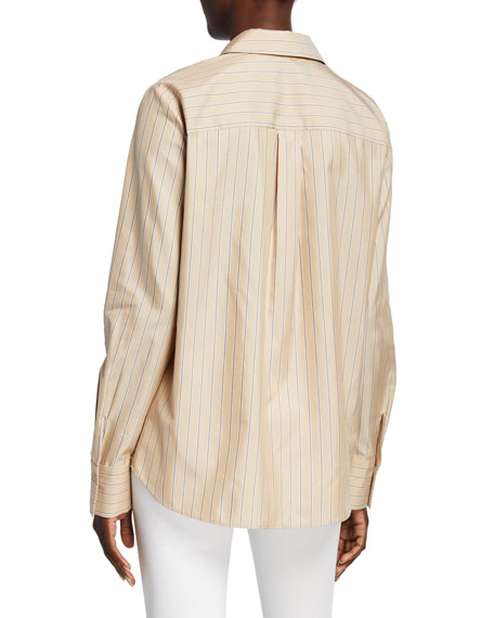 Scottie Genteel Stripes Button-Down Cotton/Silk Blouse