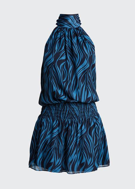 Lori Zebra-Print Halter Mini Dress