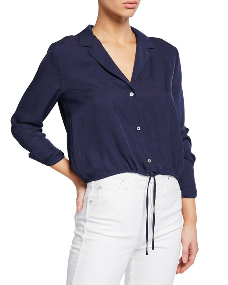 Image 1 of 1: Button-Front Long-Sleeve Drawstring Crop Shirt