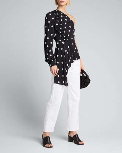 Kristy Dotted One-Shoulder Asymmetric Peplum Shirt