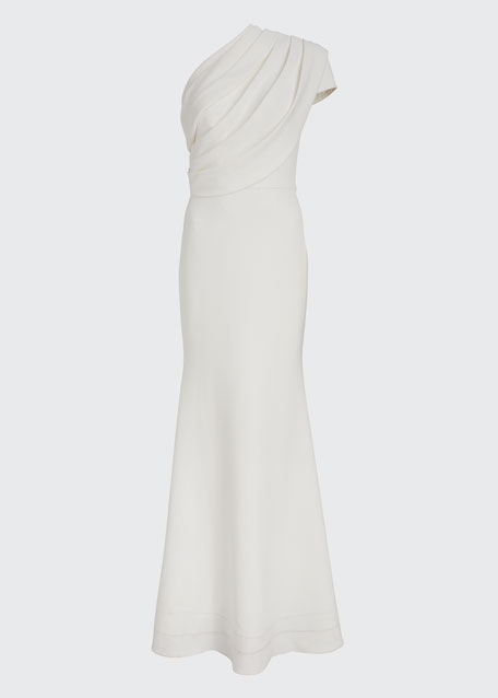 One-Shoulder Asymmetric Sleeve Crepe Gown