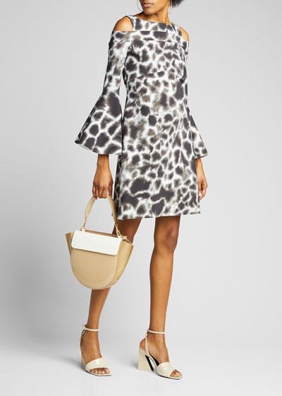 Adut Printed Cold-Shoulder Bell-Sleeve Dress