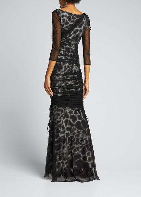Maritza Illusion Printed Fishtail Gown
