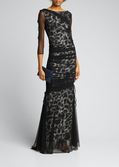 Maritza Illusion Printed Fishtail Gown
