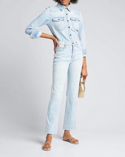 Le Sylvie Slender Straight-Leg Raw-Hem Jeans