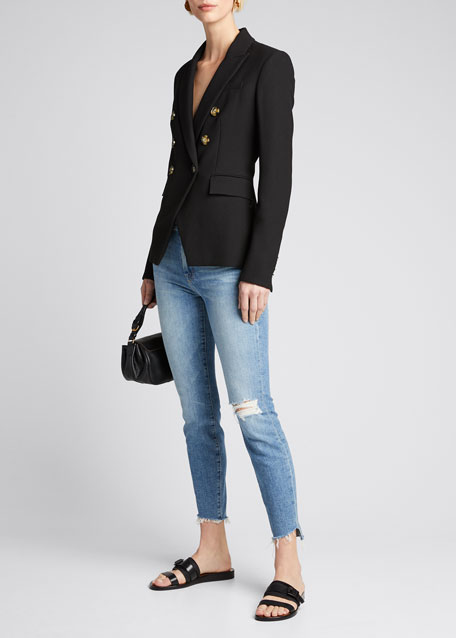 The Looker Frayed Step-Hem Ankle Jeans