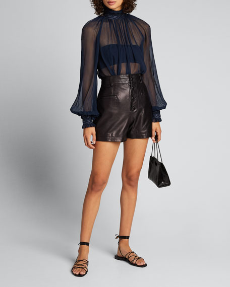 Image 1 of 1: Glassy Rouleaux Sheer High-Neck Swing Blouse