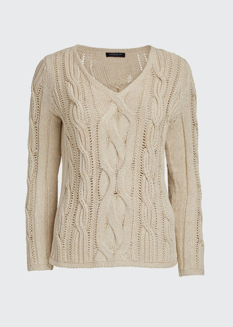 Cotton-Silk Cable-Knit V-Neck Sweater