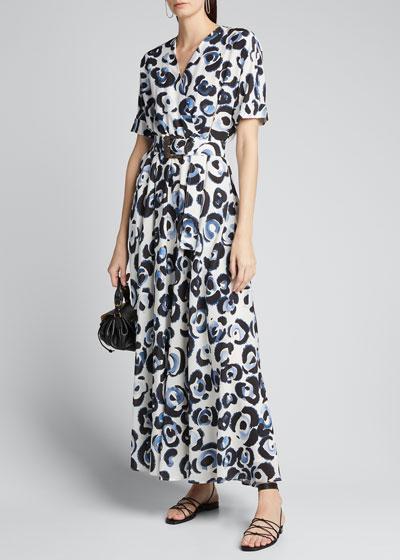 Agneta Painterly Animal-Print Dress