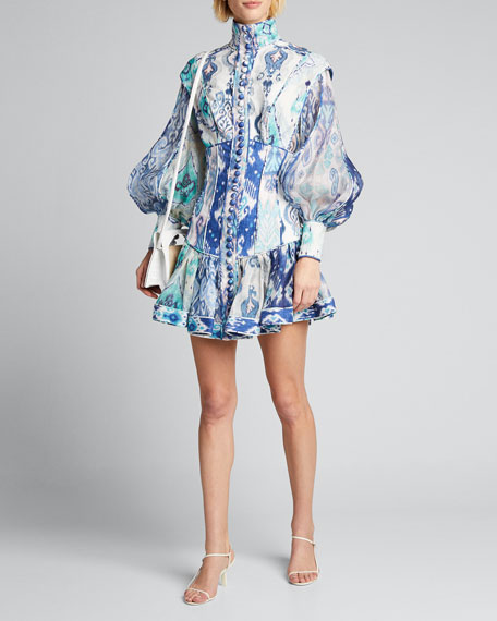 Image 1 of 1: Glassy Long-Sleeve Button-Front Mini Dress