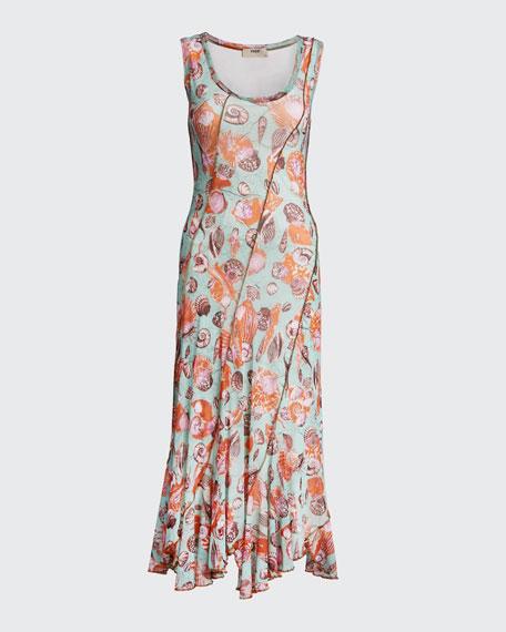 Seashell Printed Seamed Tank Dress