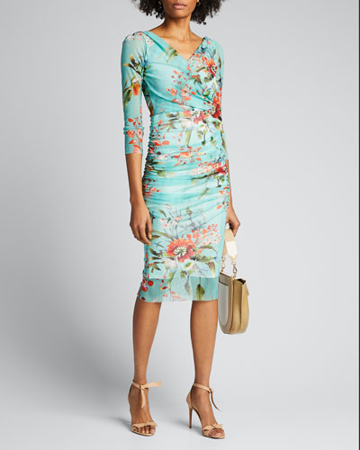 Floral-Print 3/4-Sleeve Ruched Bodycon Dress