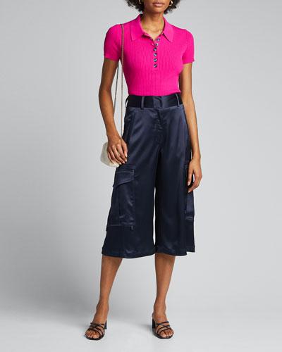 Short-Sleeve Rib-Knit Polo Shirt