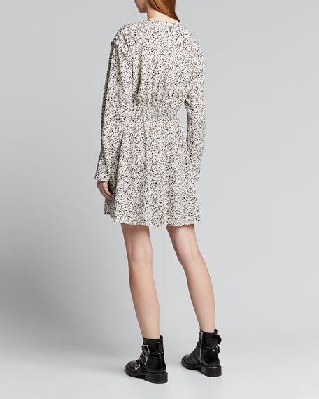 Inverse Floral Long-Sleeve Mini Dress
