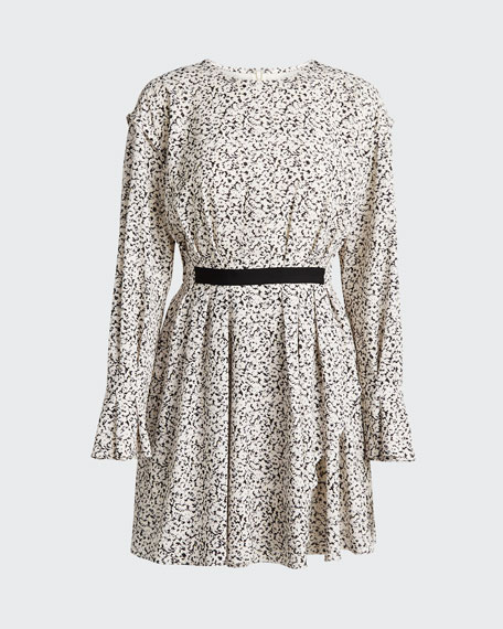 Inverse Floral Long-Sleeve Mini Dress