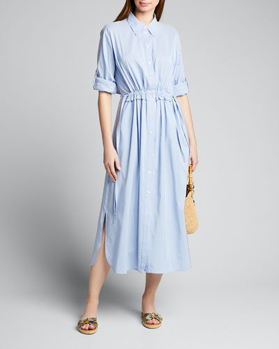 Open-Back Long-Sleeve Cotton Poplin Shirtdress