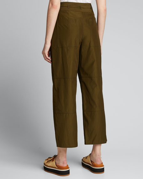 Cropped Workwear Belted Pants