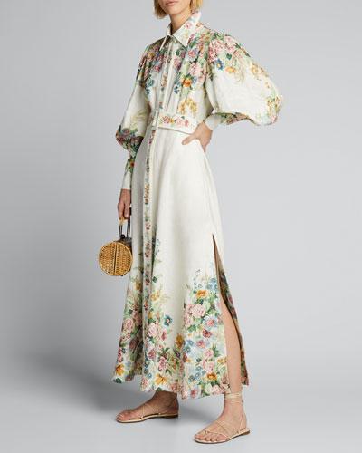 Wavelength Blouson-Sleeve Floral Long Dress