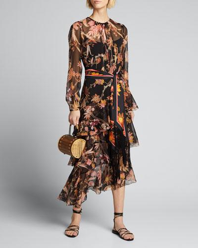 Wavelength Tiered Ruffle Midi Dress