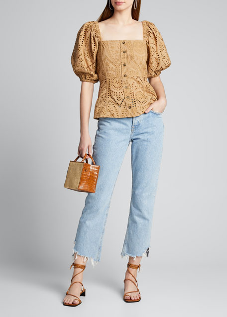 Broderie Anglaise Puff-Sleeve Button-Down Top