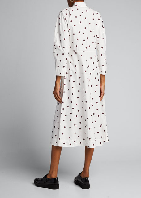 Polka Dot Poplin Long-Sleeve Midi Dress