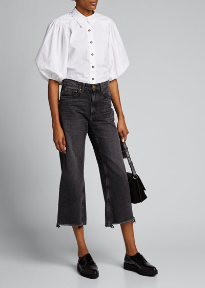 Puff-Sleeve Poplin Button-Down Top