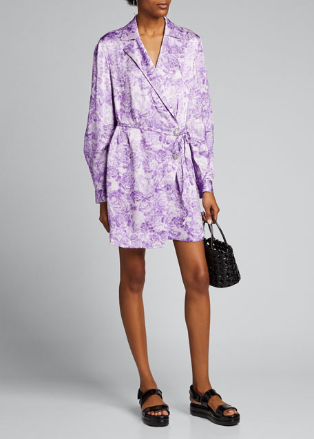 Image 1 of 1: Heavy Satin Floral Wrap Dress