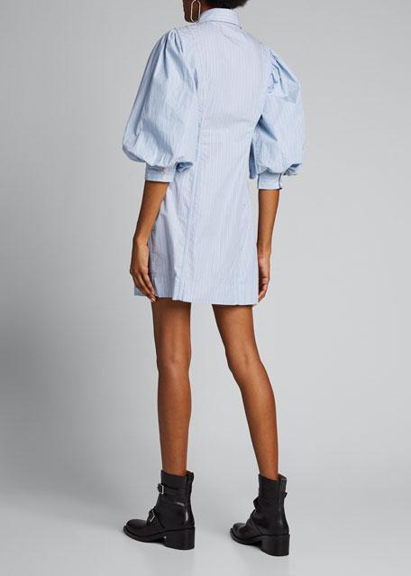 Striped Puff-Sleeve Button-Down Dress