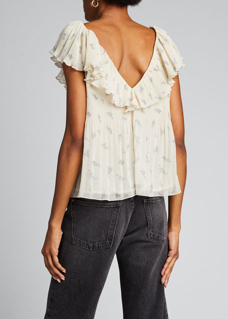 Pleated Georgette Ruffle Blouse